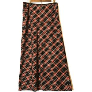Tommy Hilfiger Embroidered Plaid Long Skirt